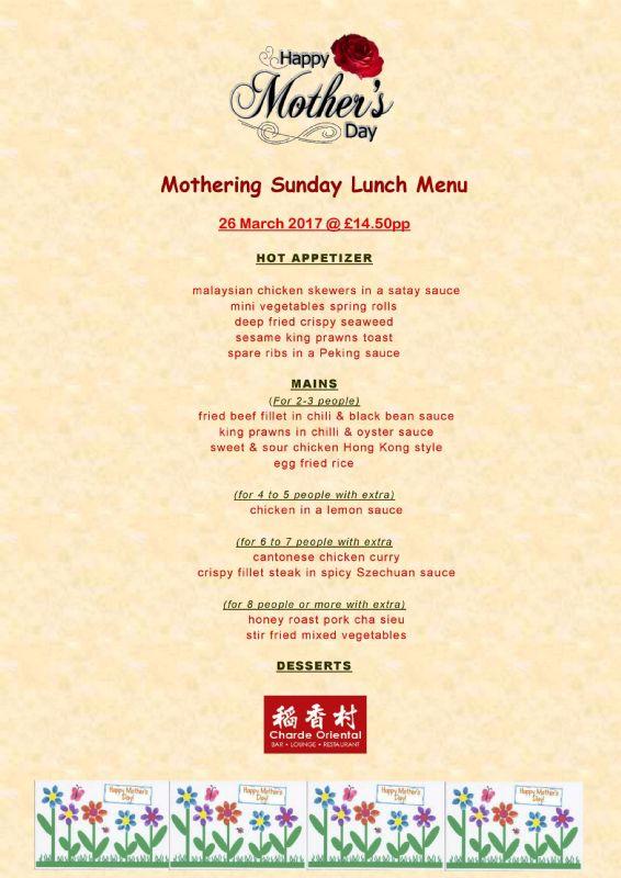 Mothering Sunday - Charde Oriental Tollerton