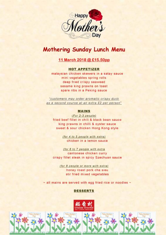 Chinese Restaurant Nottingham Mothers Day Ideas